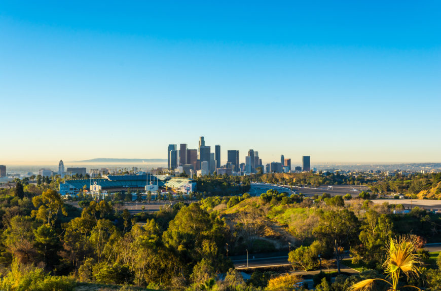 A shot of the Los angeles skyline